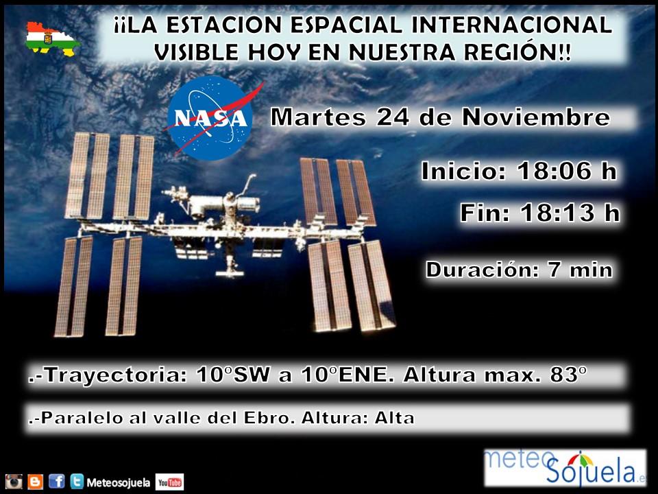 Trayectoria Estación Espacial Internacional en La Rioja. Meteosojuela