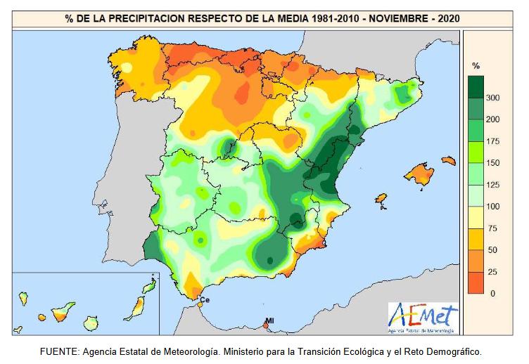 Anomalía Precipitación Noviembre 2020. aemet. Meteosojuela