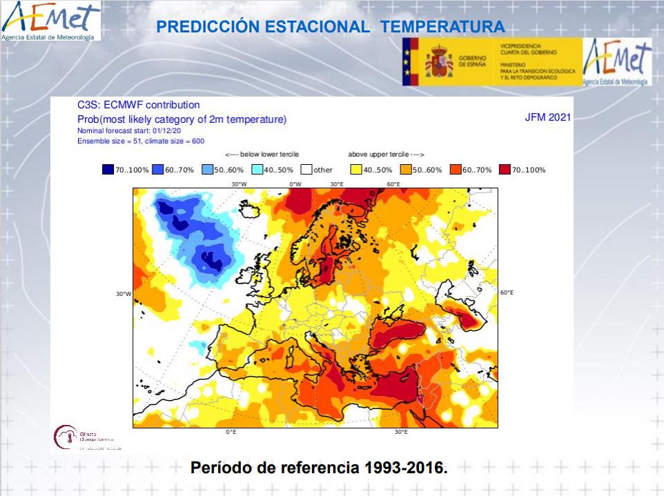 Anomalía Temperatura Invierno en La Rioja. AEMET. Meteosojuela