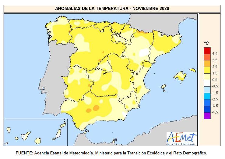 Anomalía Temperaturas Noviembre 2020. aemet. Meteosojuela