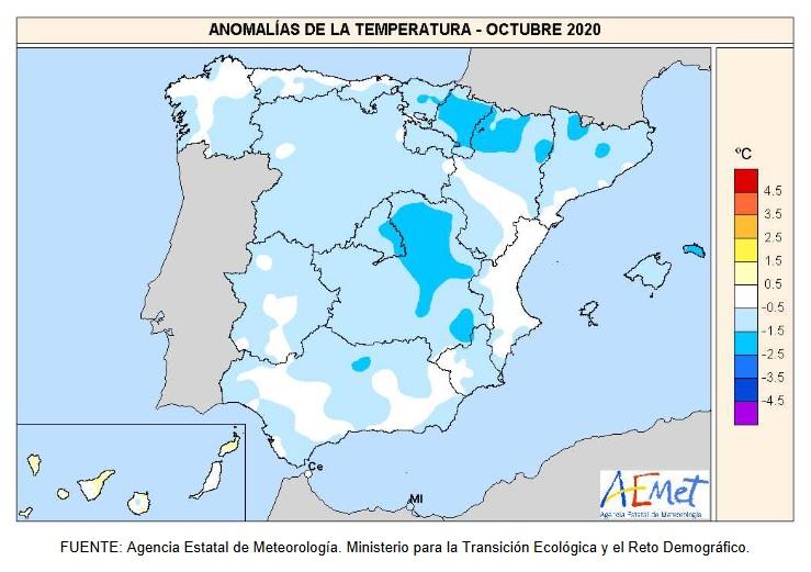 Anomalía Temperaturas Octubre 2020. aemet. Meteosojuela