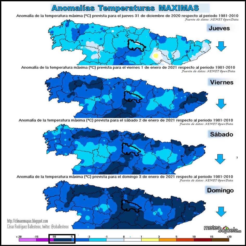 Anomalías Temperaturas Maximas. Cesar. Meteosojuela