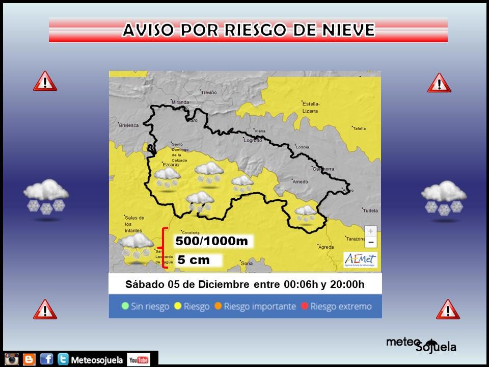 Aviso AMARILLO por NIEVE en la Ibérica. AEMET. Meteosojuela