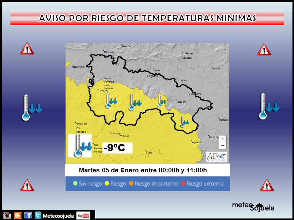 Aviso Amarillo por Frío en la Ibérica. AEMET Meteosojuela