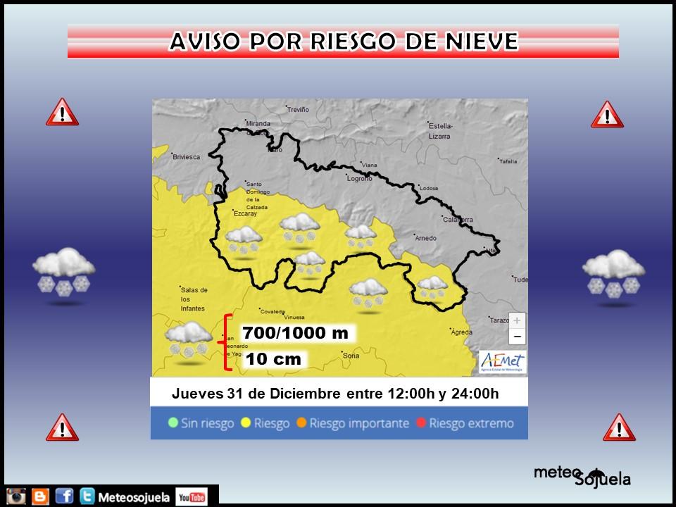 Aviso Amarillo por Nieve. AEMET 31 Meteosojuela