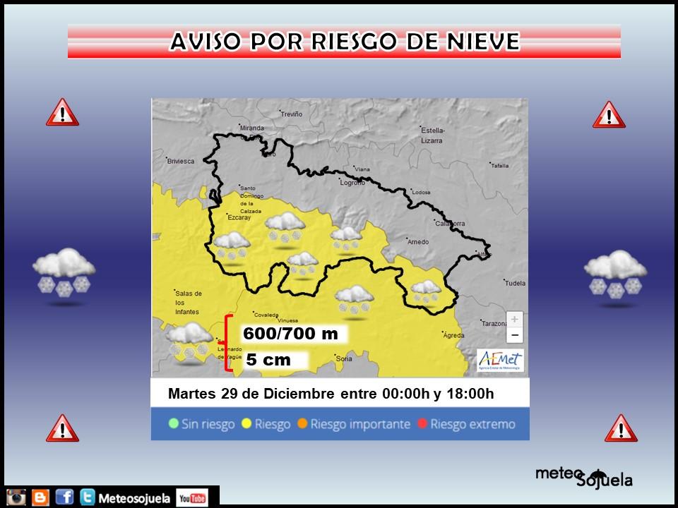 Aviso Amarillo por Viento y Nieve. AEMET 29 Meteosojuela