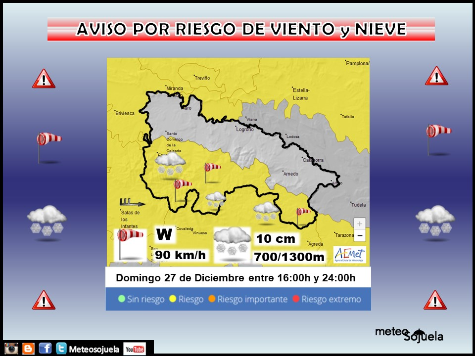 Aviso Amarillo por Viento y Nieve. AEMET.27 Meteosojuela