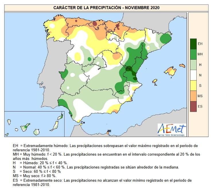 Caracter de la Precipitación Noviembre 2020