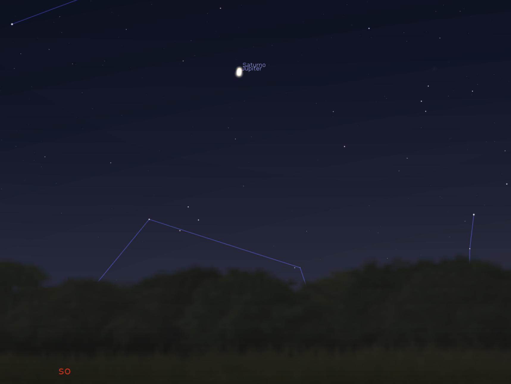 Conjunción Júpiter Saturno hacia SW