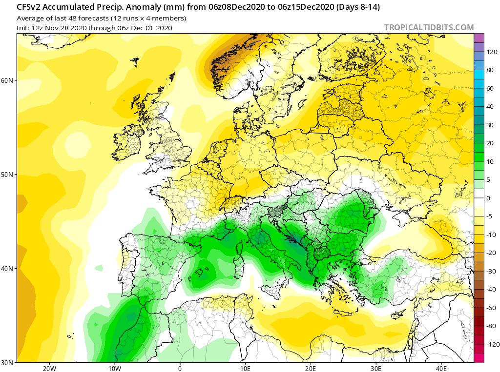 Modelos de Precipitación semanal Diciembre GFS 2ª Semana . Meteosojuela La Rioja