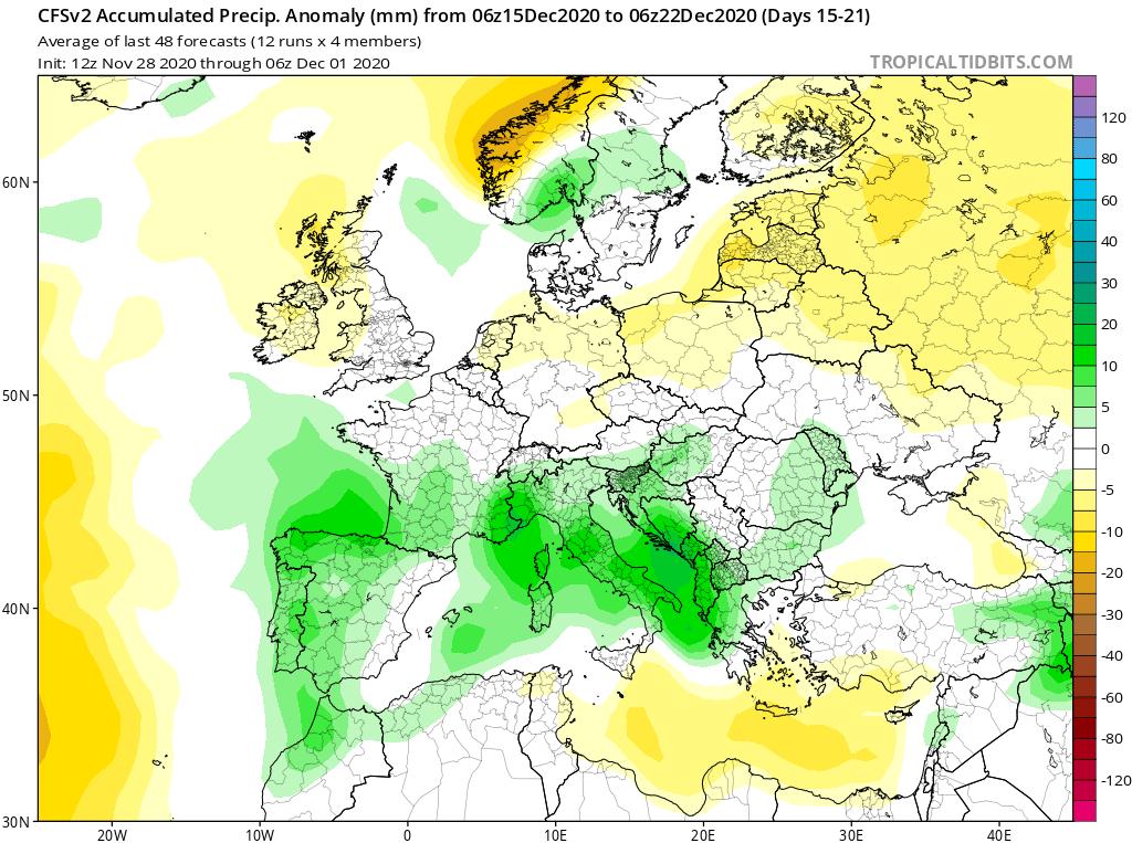 Modelos de Precipitación semanal Diciembre GFS 3ª Semana . Meteosojuela La Rioja