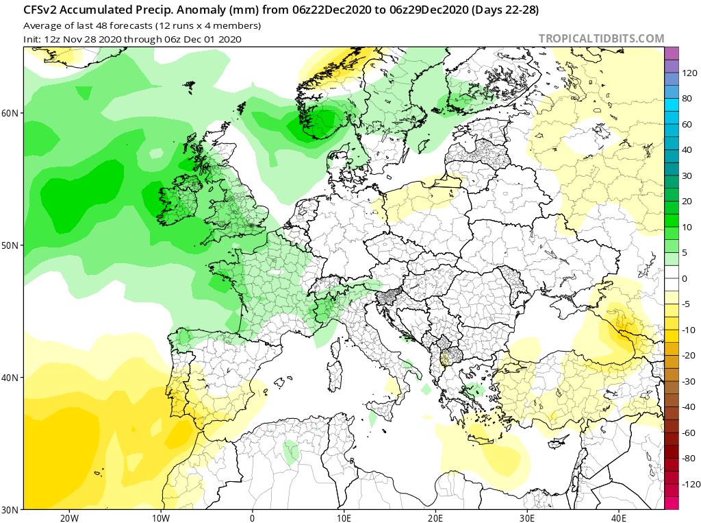 Modelos de Precipitación semanal Diciembre GFS 4ª Semana . Meteosojuela La Rioja