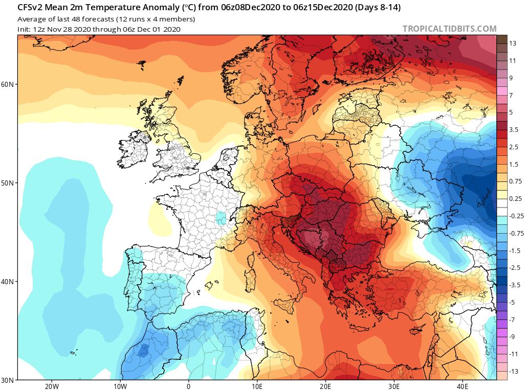 Modelos de Temperatura semanal Diciembre GFS 2ª Semana . Meteosojuela La Rioja