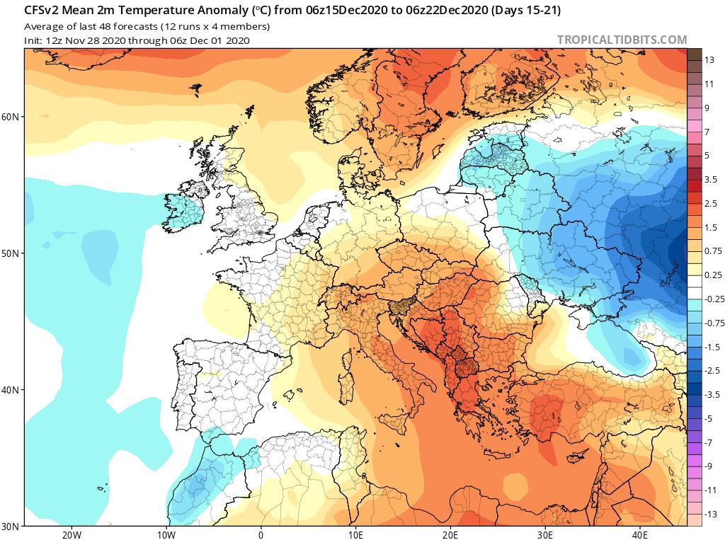Modelos de Temperatura semanal Diciembre GFS 3ª Semana . Meteosojuela La Rioja