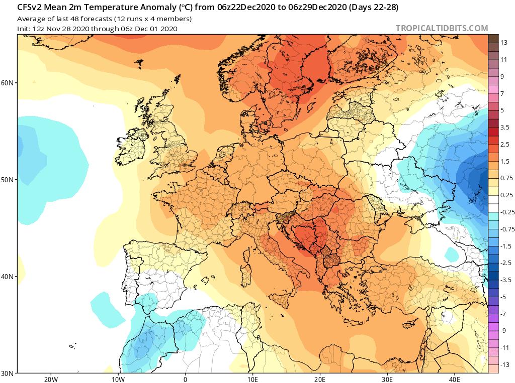 Modelos de Temperatura semanal Diciembre GFS 4ª Semana . Meteosojuela La Rioja