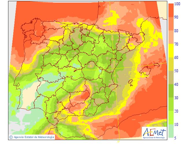 Probabilidad de precipitación según AEMET. 20 Meteosojuela La Rioja