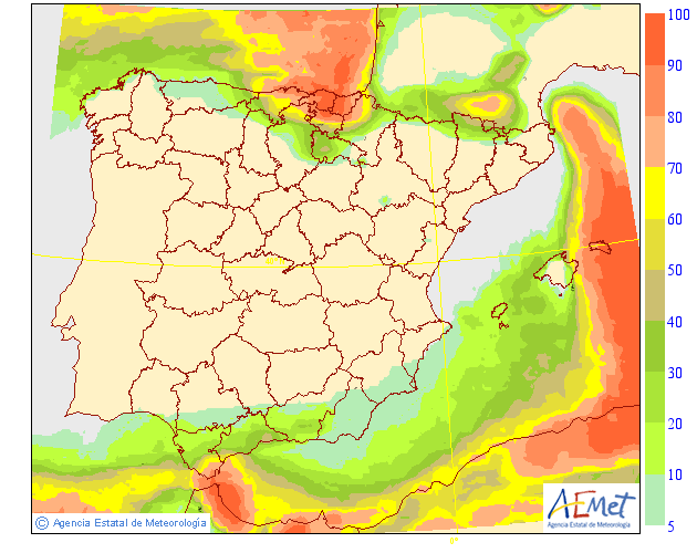 Probabilidad de precipitación según AEMET. 25 Meteosojuela La Rioja