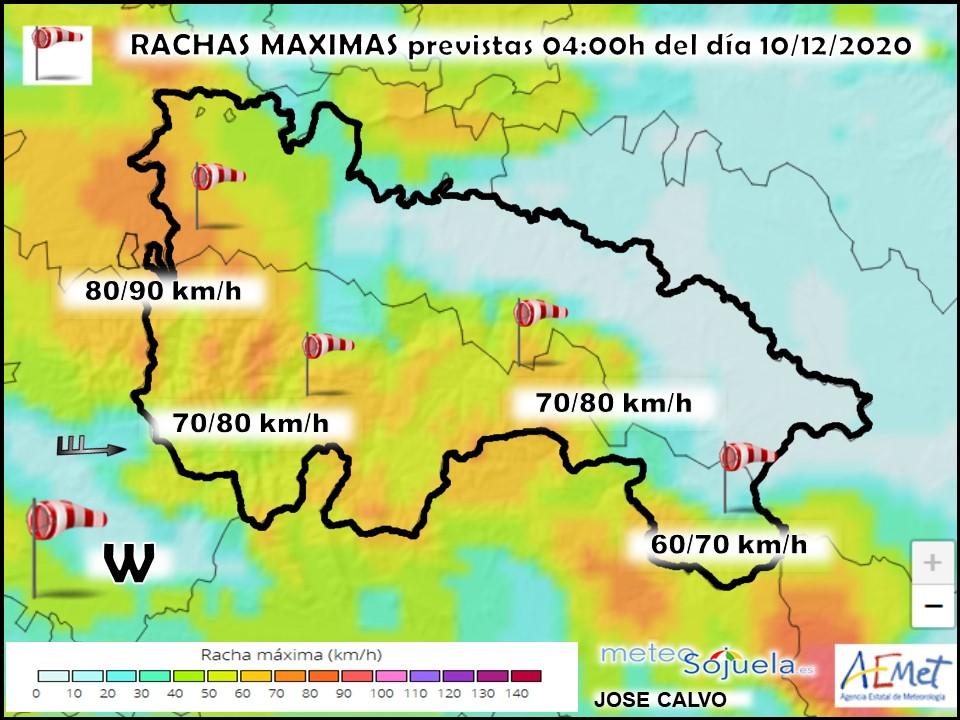 Rachas Máximas de Viento Harmonie. Meteosojuela.