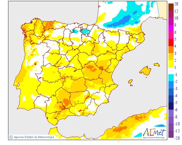 Variación de temperaturas máximas 06 AEMET. Meteosojuela
