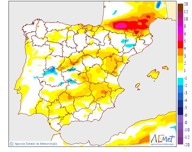 Variación de temperaturas máximas AEMET. 31Meteosojuela