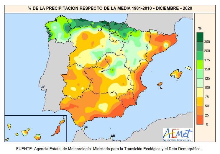 Anomalía Precipitación Diciembre 2020. aemet. Meteosojuela