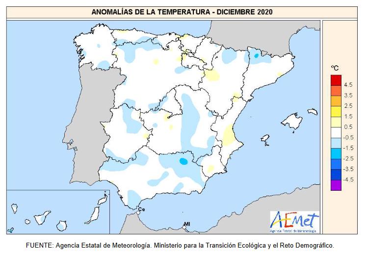 Anomalía Temperaturas Diciembre 2020. aemet. Meteosojuela