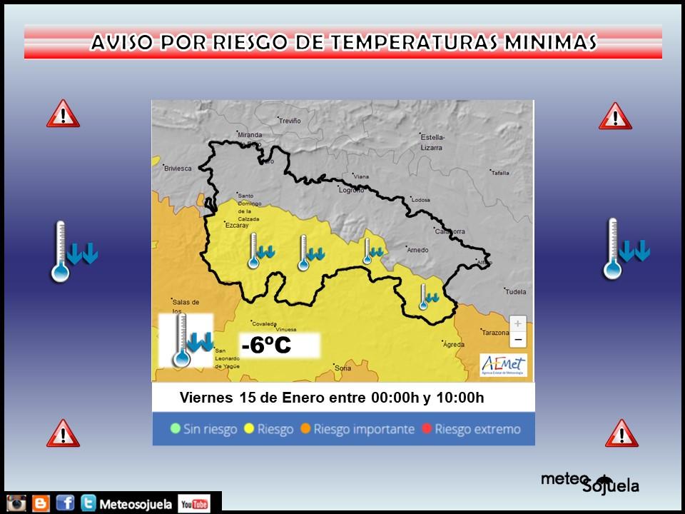 Aviso Amarillo por Frío en la Ibérica. AEMET 15 Meteosojuela
