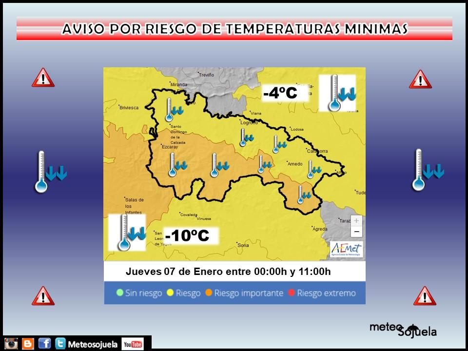 Aviso Amarillo y Naranja por Frío en la Ibérica. AEMET Meteosojuela