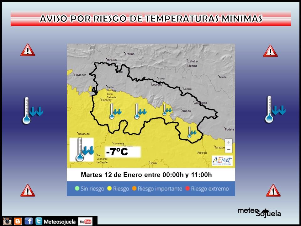 Aviso Amarillo por Frío en toda la región. AEMET 12 Meteosojuela