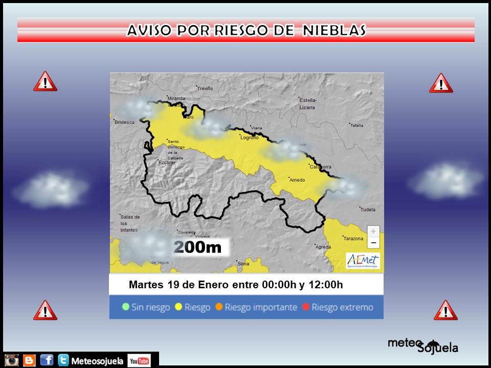 Aviso Amarillo por Niebla. AEMET Meteosojuela