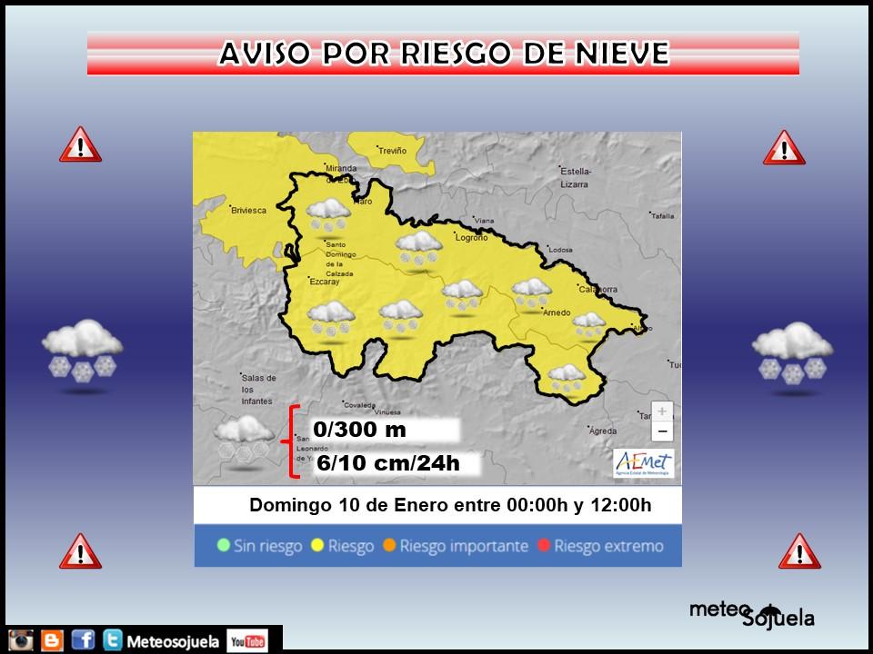 Aviso Amarillo por Nieve en toda la región. 10 AEMET Meteosojuela
