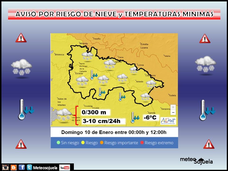 Aviso Amarillo por Nieve y Frío en toda la región. 10 AEMET Meteosojuela