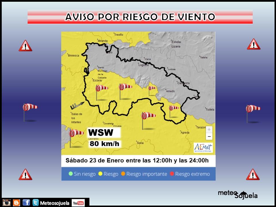 Aviso Amarillo por Viento. AEMET 23 Meteosojuela