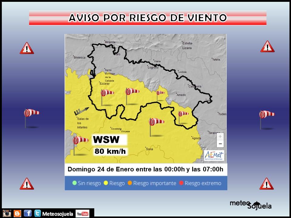 Aviso Amarillo por Viento. AEMET 24 Meteosojuela