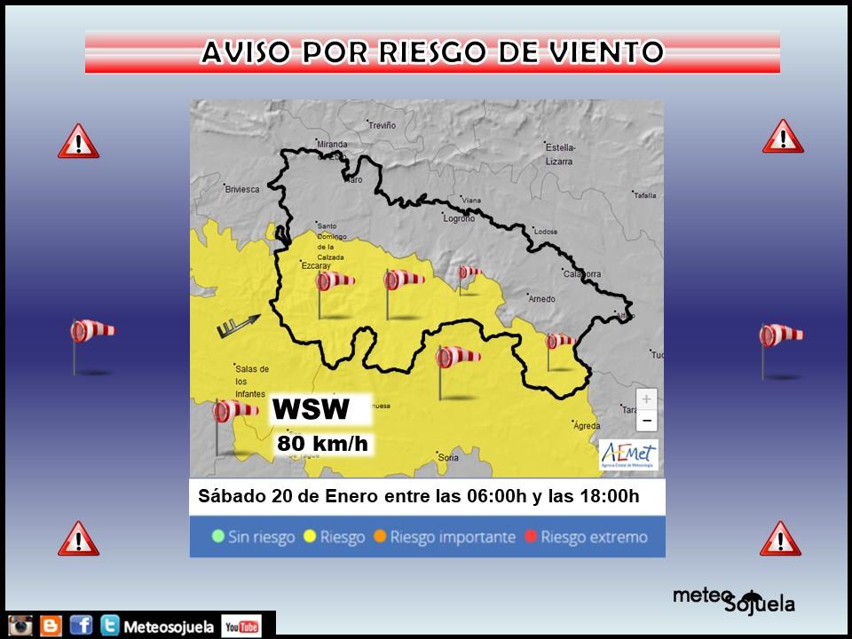 Aviso Amarillo por Viento. AEMET 30 Meteosojuela