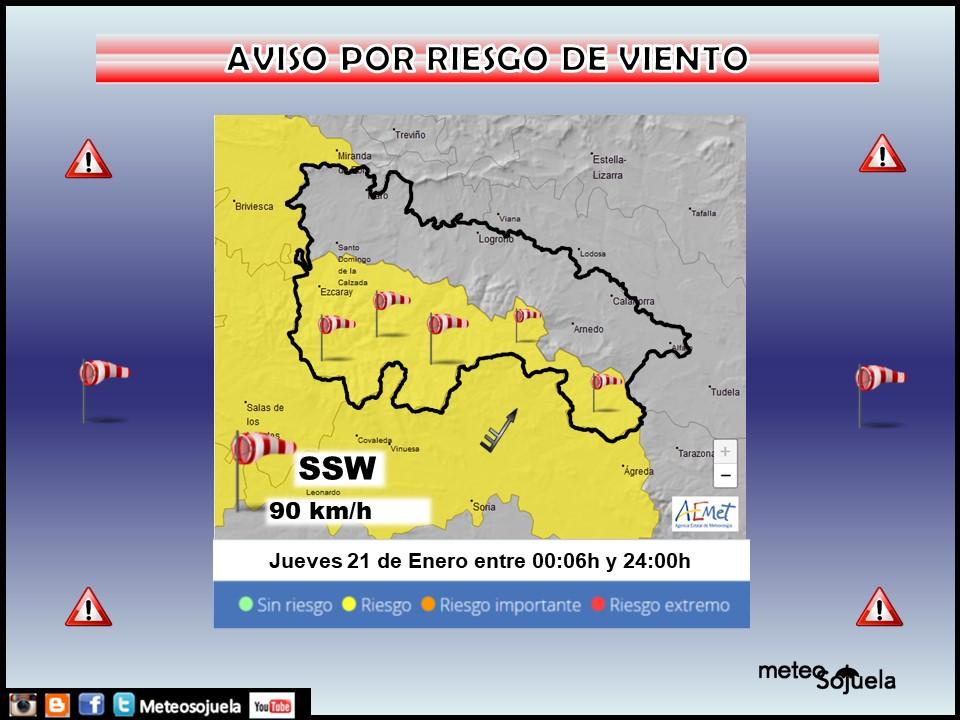 Aviso Amarillo por Viento. AEMET Meteosojuela