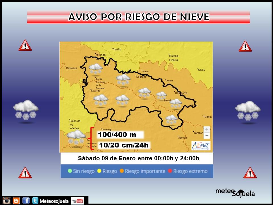 Aviso Naranja por Nieve en toda la región. AEMET Meteosojuela