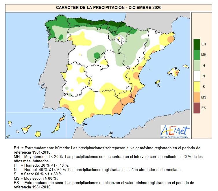 Caracter de la Precipitación Diciembre 2020