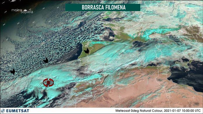Imágen de satélite de la borrasca Filomena