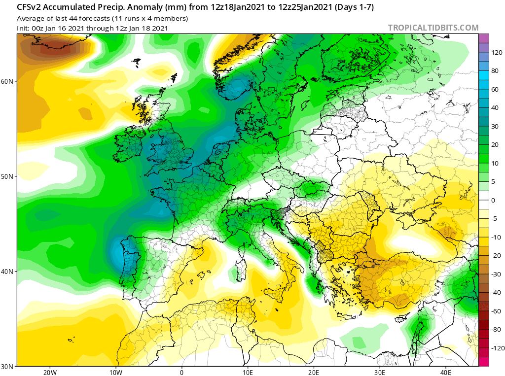 Modelos de Precipitación semanal Enero GFS 3ª Semana .Meteosojuela La Rioja