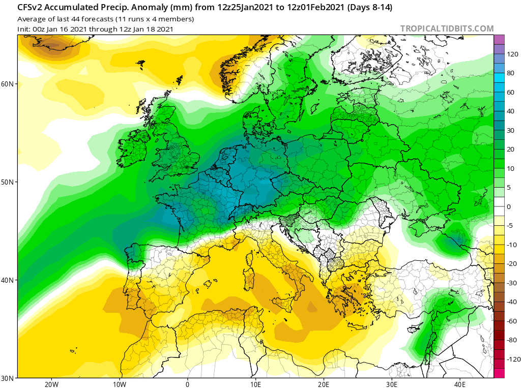 Modelos de Precipitación semanal Enero GFS 4ª Semana .Meteosojuela La Rioja