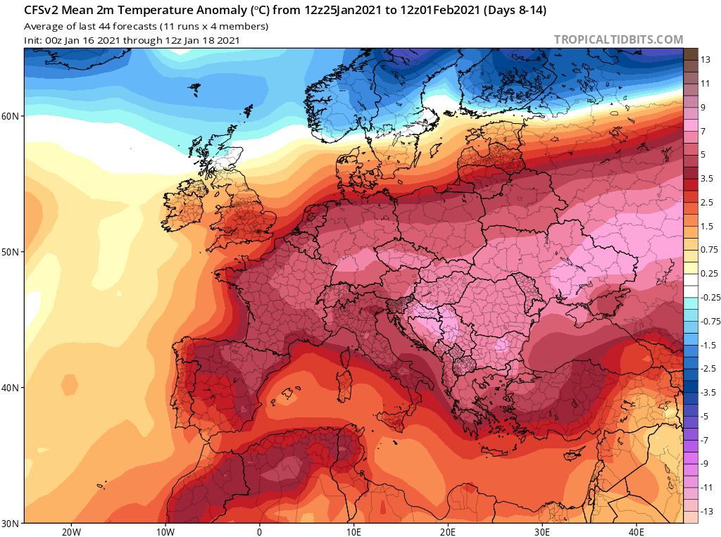 Modelos de Temperatura semanal Enero GFS 4ª Semana .Meteosojuela La Rioja