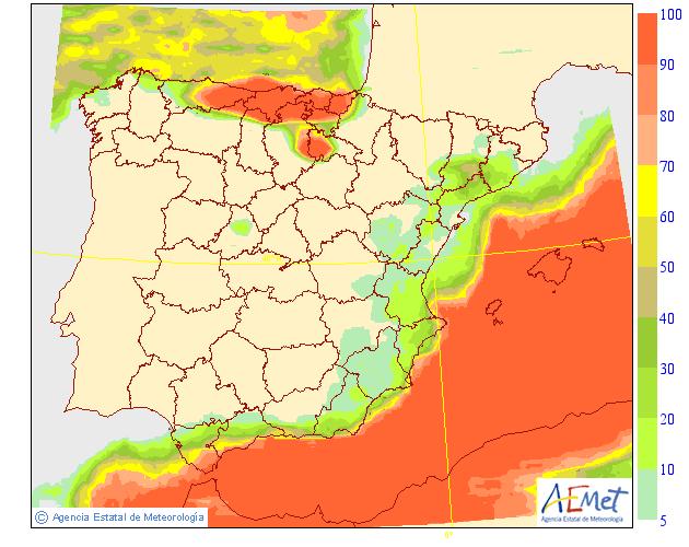 Probabilidad de precipitación según AEMET.11 Meteosojuela La Rioja