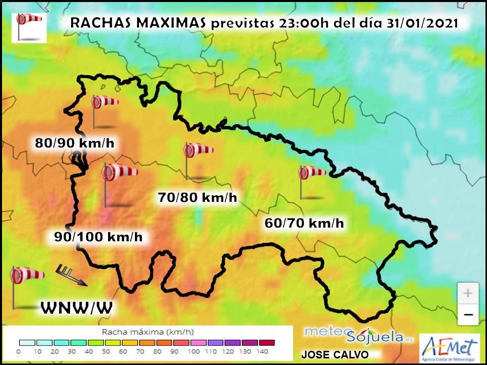 Rachas Maximas de viento modelo Harmonie. Meteosojuela