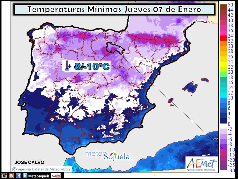 Temperaturas mínimas AEMET. Meteosojuela