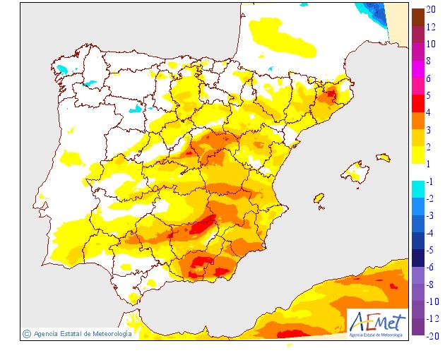 Variación de temperaturas máximas 01 AEMET. Meteosojuela