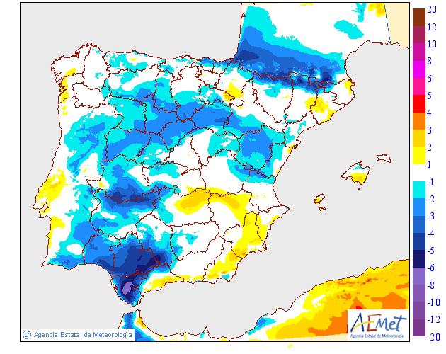 Variación de temperaturas máximas 29 AEMET. Meteosojuela
