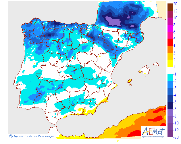Variación de temperaturas máximas AEMET. 22Meteosojuela
