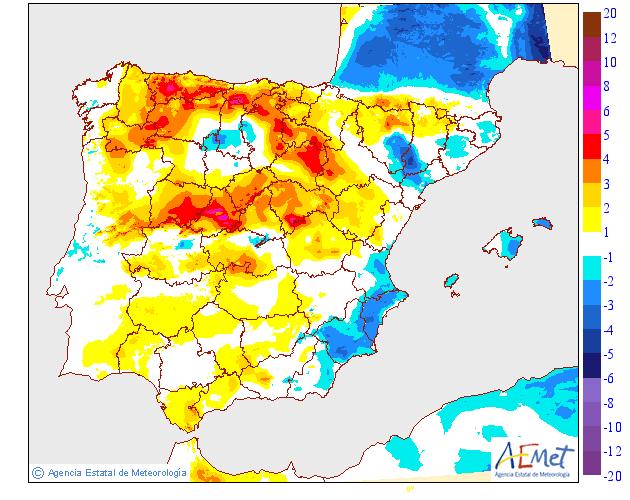 Variación de temperaturas máximas AEMET.16 Meteosojuela
