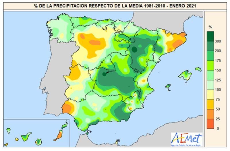 Anomalía Precipitación Enero 2020. aemet. Meteosojuela